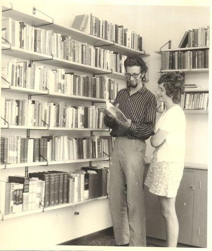 Rev. & Mrs MacDonald in Baptist Church Library, 1972