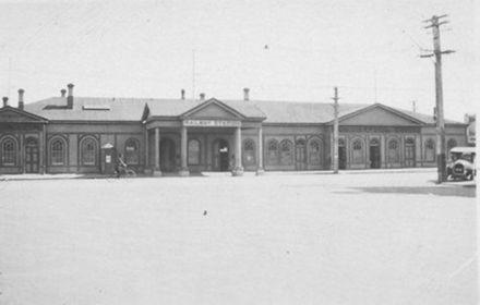 Invercargill railway station main entrance, 1927 or 1928