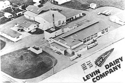 Aerial view of Co-op Dairy Factory, Queen St., Levin