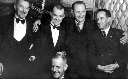 Five men at Shannon School 60th Jubilee Ball, 1949