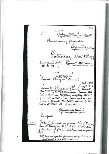 Otaki Maori Land Court Minutebook - 8 November 1879.