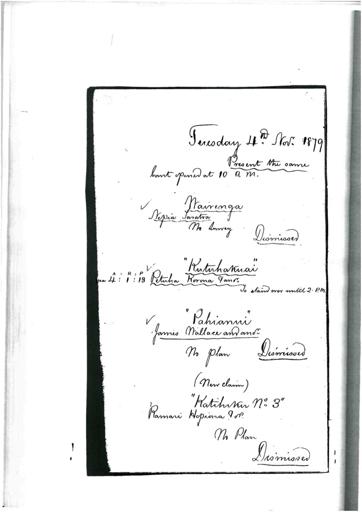 Otaki Maori Land Court Minutebook - 4 November 1879.