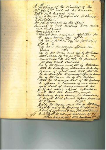 Horowhenua Land Company minutebook Page 9