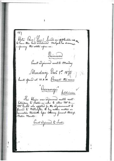 Otaki Maori Land Court Minutebook -  1 December 1875.