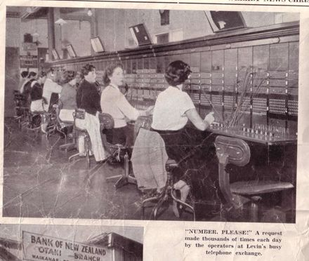 Inside the Levin Telephone Exchange, 1960