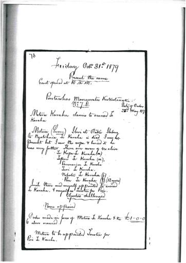 Otaki Maori Land Court Minutebook - 31 October 1879.