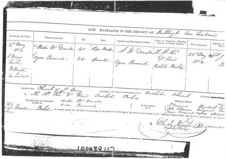 Agnes McDonald's Marriage Certificate Part 1
