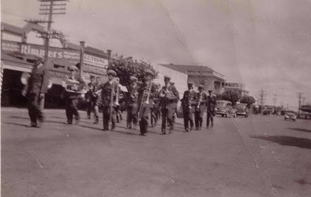 Foxton Band in Main Street, 1940's?