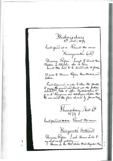 Otaki Maori Land Court Minutebook - 6 November 1879.