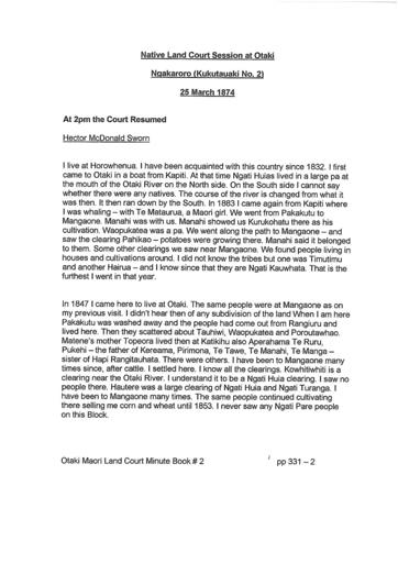 Hector McDonald Otaki Maori Land Court Minutes