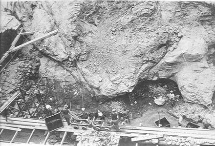 Excavations at base of main Dam, Mangahao, 1923