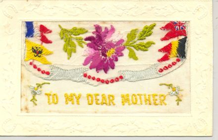 To My Dear Mother - an embroidered postcard.