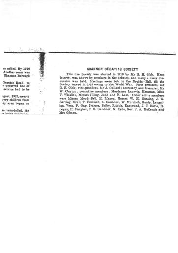 Shannon Debating Society set up 1909