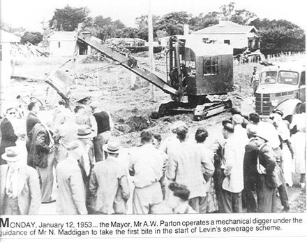 Official start of Levin's Sewerage Scheme, 1953