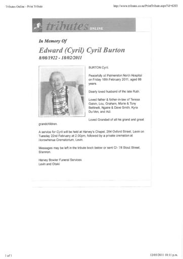 BURTON, Edward Cyril (Cyril) 8 Aug 1922 18 Feb 2011 Shannon