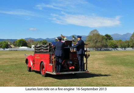 Laurie Jensons last ride in a fire engine