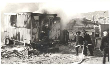 Mobile workshop on fire, 1973