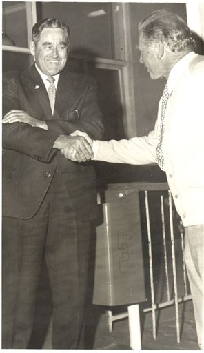 Mayor Roberts congratulates Mr McCready, 1972