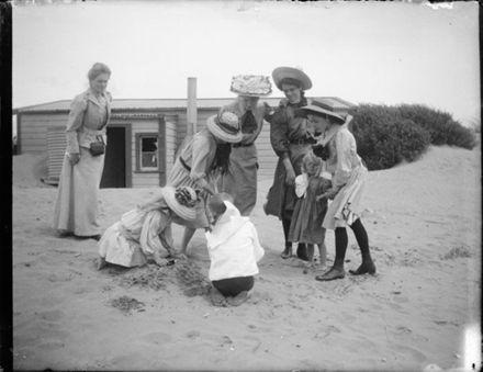 Group at Hokio Beach - Adkin photo - 1 Jan 1909