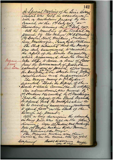 Minutes of Special Meeting - 1 July 1907