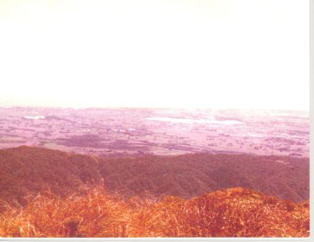 View of Horowhenua from 'Twin Peak' in Tararua Range, 1981