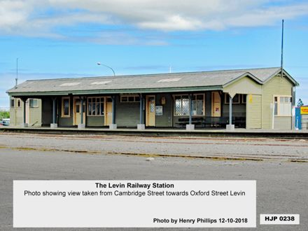 The Levin Railway Station  Photo showing view taken from Cambridge Street towards Oxford Street Levin 12-10-2018