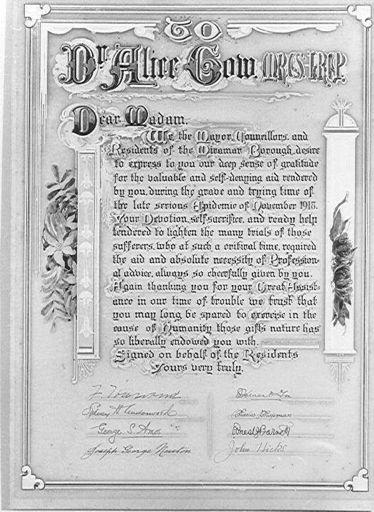 Illuminated Address to Dr Alice Gow