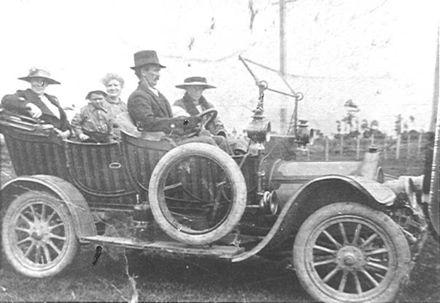 Mr Herbert Southee driving new car, c.1920