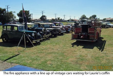 The Fire appliance and vintage cars waiting for Lauries coffin