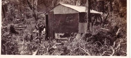 Laurie Jackson outside Ohau Hut, October 1936