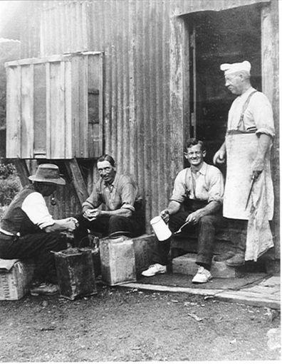 Cookhouse, single mens camp, Mangahao, 1920's