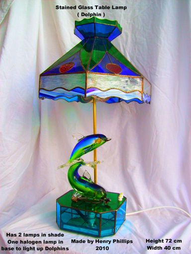 Blue Dolphin Glass Table lamp