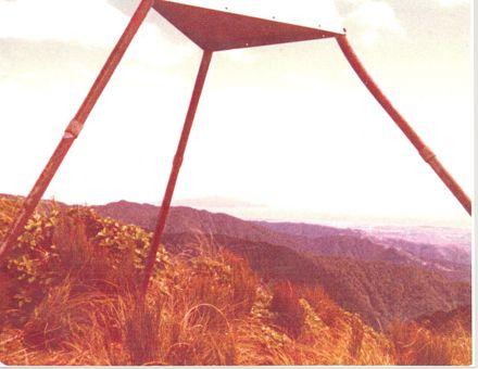 Another view of the Memorial Trig on 'Twin Peak' in Tararua Range, 1981