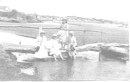 Makeshift bridge across Hokio Stream, Hokio Beach