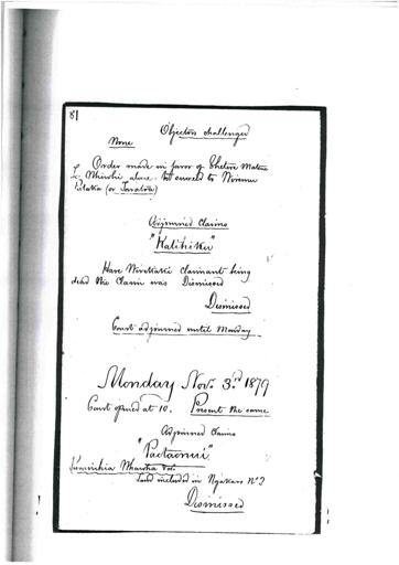 Otaki Maori Land Court Minutebook - 3 November 1879.