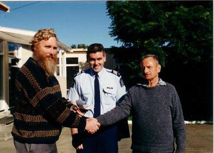 Kevin Farrell making Presentation to Gordon Burr, 1980's-90's