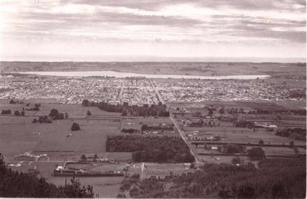 View across Levin & Lake Horowhenua to the Sea
