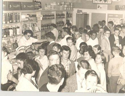 Crowd in Regent Theatre sweet shop