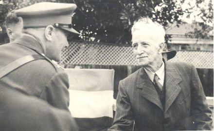 Governor General Sir Bernard Freyberg shakes hands with Mr Lett