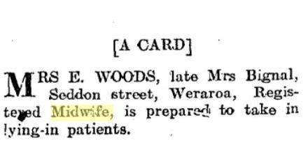 Ellen Woods midwife Levin card 4 June 1918