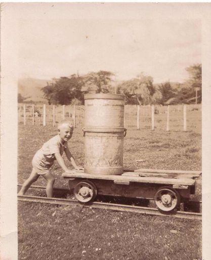 Young boy pushing cream trolley