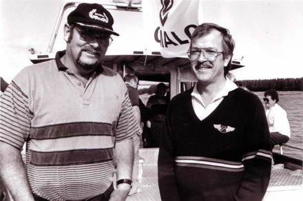 "Kevin Morris with the Designer of his Fishing Boat ""Sidewinder"", 1980's-90's"