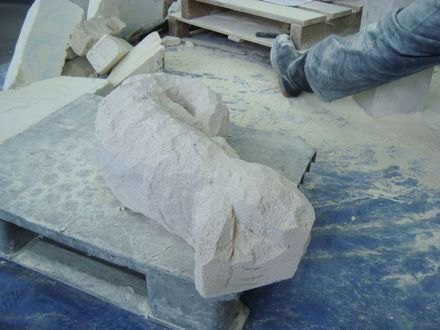 Early stages of a lizard sculpture