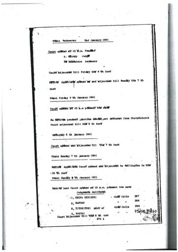 Otaki Maori Land Court Minutebook - 4a January 1901.