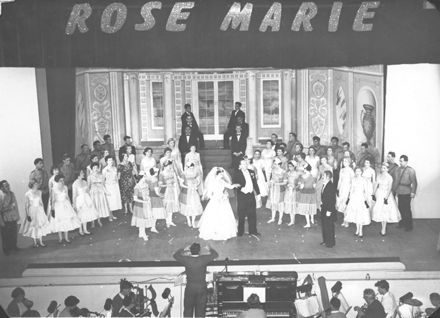 "Off-stage greetings with cast of the show  ""Rose Marie"", 1959"