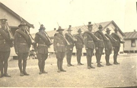 Soldiers in formation.