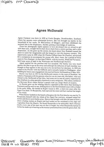 Agnes McDonald - Petticoat Pioneers