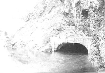 Exit of by-pass tunnel, Mangahao Dam, 1920's