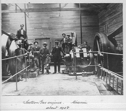 Engine room of Miranui Flax Mill, c.1908