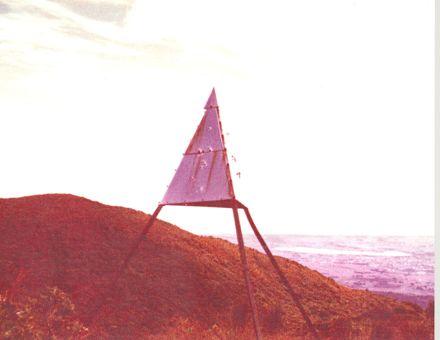 Memorial Trig on 'Twin Peak' in Tararua Range in memory of Ralph Wood, 1981